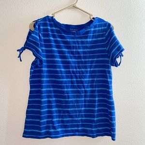 Talbots Blue Striped Top With Tied Sleeves Medium